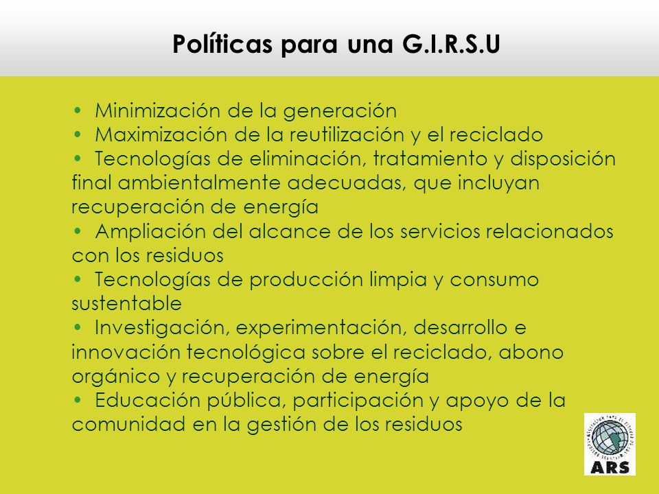 Políticas para una G.I.R.S.U