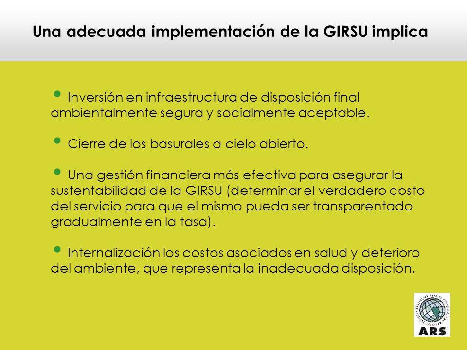 Una adecuada implementación de la GIRSU implica