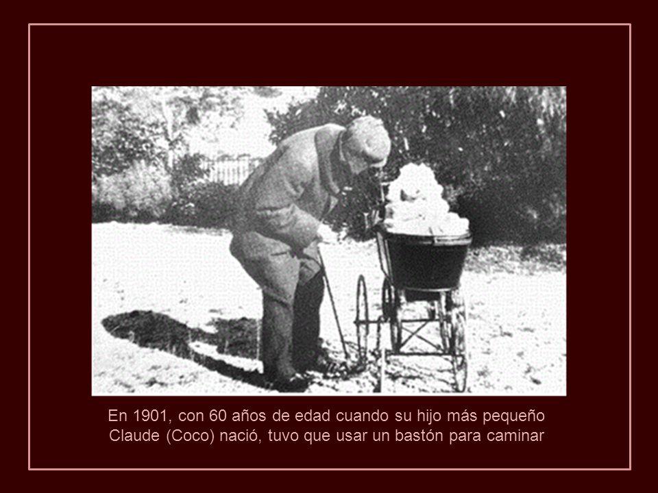 En 1901, con 60 años de edad cuando su hijo más pequeño Claude (Coco) nació, tuvo que usar un bastón para caminar