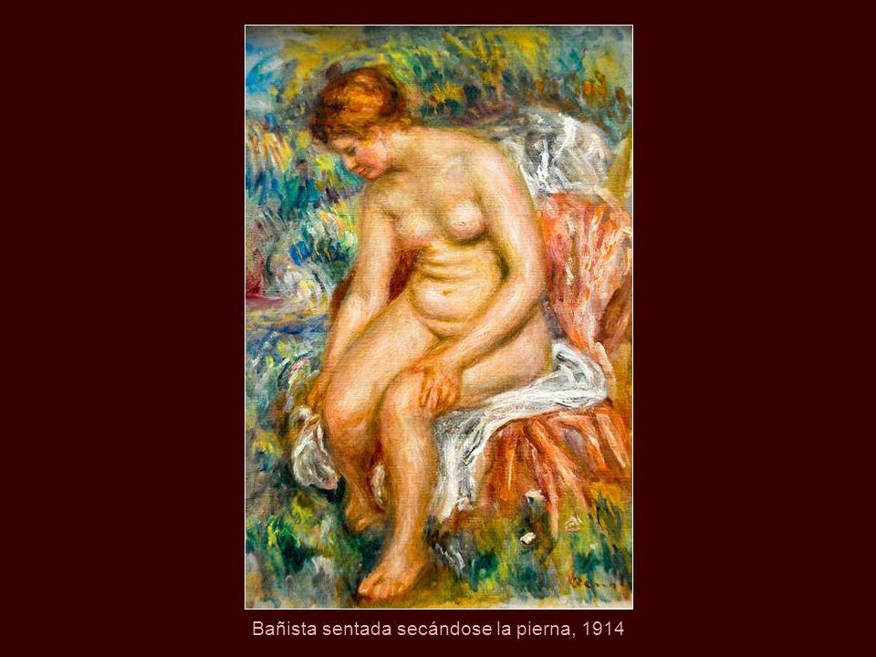 Bañista sentada secándose la pierna, 1914