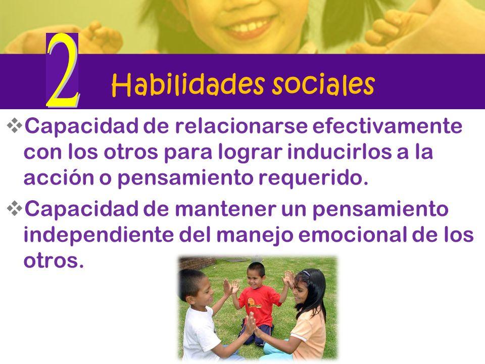2 Habilidades sociales. Capacidad de relacionarse efectivamente con los otros para lograr inducirlos a la acción o pensamiento requerido.