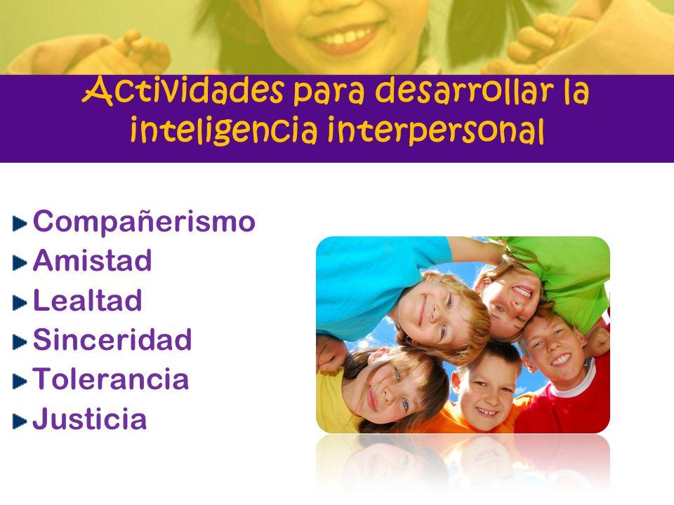 Actividades para desarrollar la inteligencia interpersonal