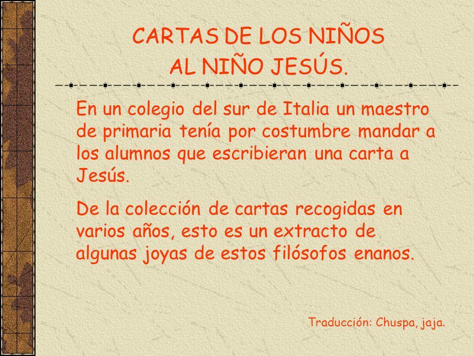 CARTAS DE LOS NIÑOS AL NIÑO JESÚS.