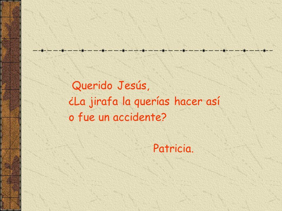 Querido Jesús, ¿La jirafa la querías hacer así o fue un accidente Patricia.