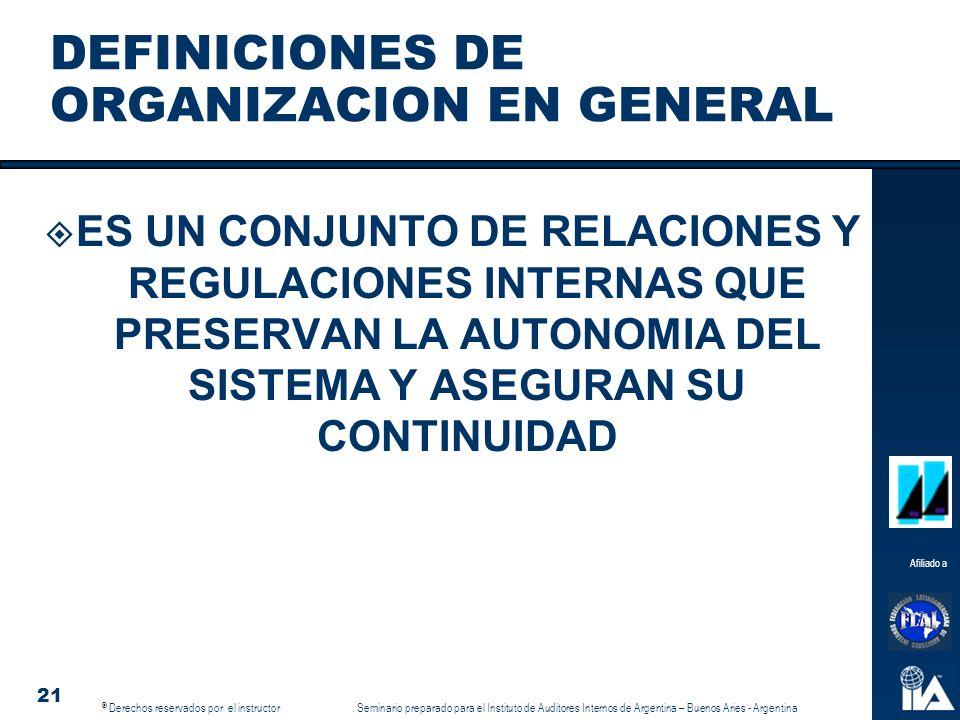 DEFINICIONES DE ORGANIZACION EN GENERAL