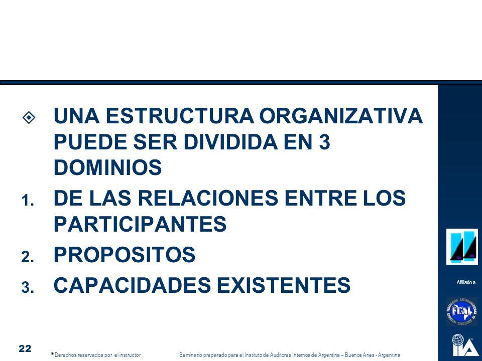 UNA ESTRUCTURA ORGANIZATIVA PUEDE SER DIVIDIDA EN 3 DOMINIOS