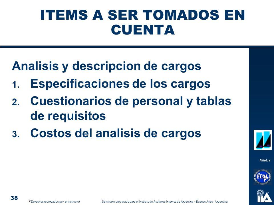 ITEMS A SER TOMADOS EN CUENTA