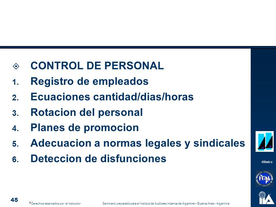 CONTROL DE PERSONAL Registro de empleados. Ecuaciones cantidad/dias/horas. Rotacion del personal.
