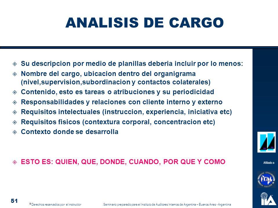 ANALISIS DE CARGO Su descripcion por medio de planillas deberia incluir por lo menos: