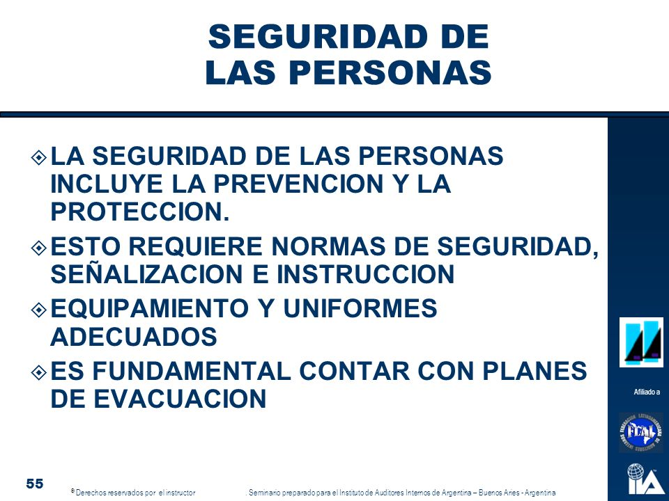 SEGURIDAD DE LAS PERSONAS