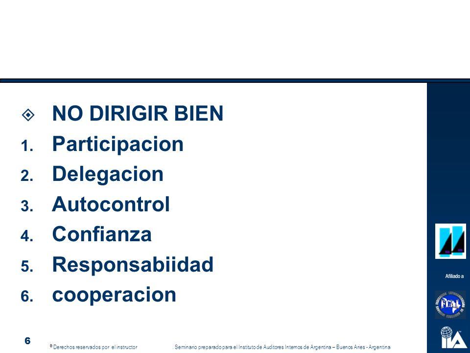 NO DIRIGIR BIEN Participacion Delegacion Autocontrol Confianza Responsabiidad cooperacion