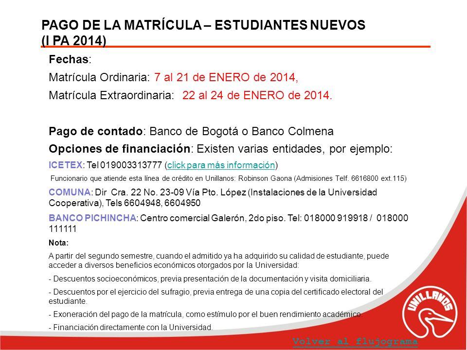 PAGO DE LA MATRÍCULA – ESTUDIANTES NUEVOS (I PA 2014)