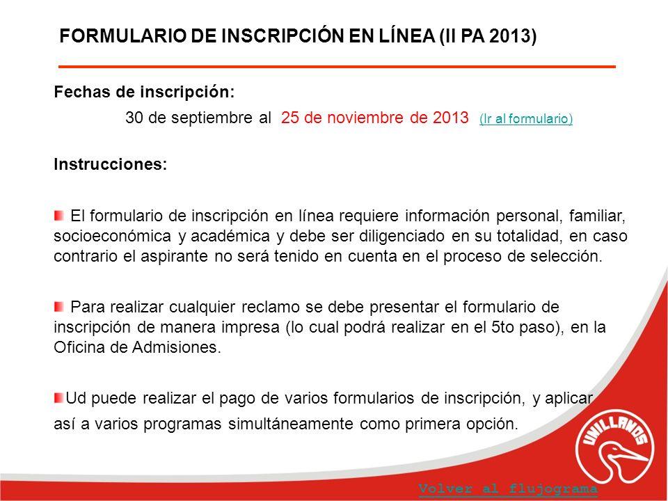 FORMULARIO DE INSCRIPCIÓN EN LÍNEA (II PA 2013)