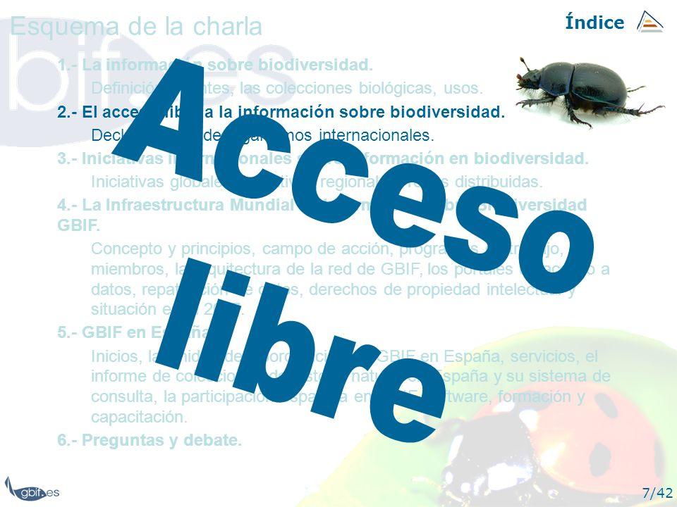 Acceso libre Esquema de la charla Índice