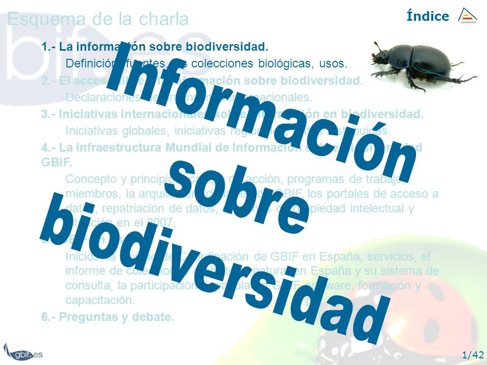 Información sobre biodiversidad Esquema de la charla Índice