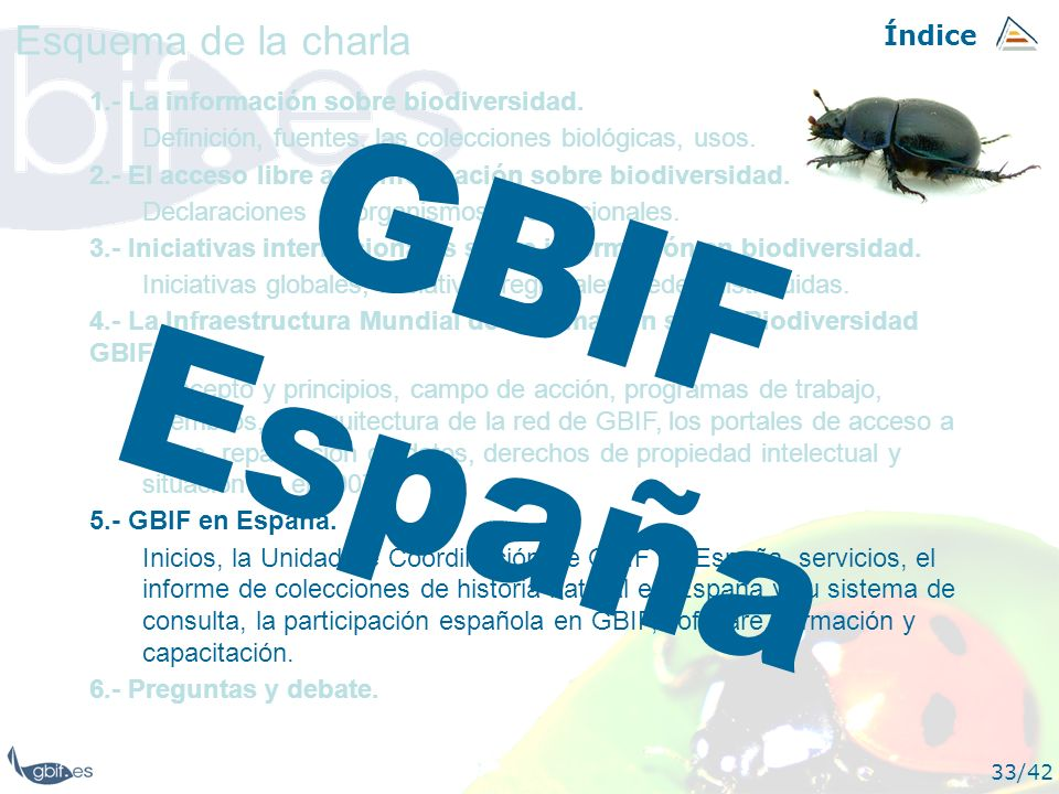 GBIF España Esquema de la charla Índice