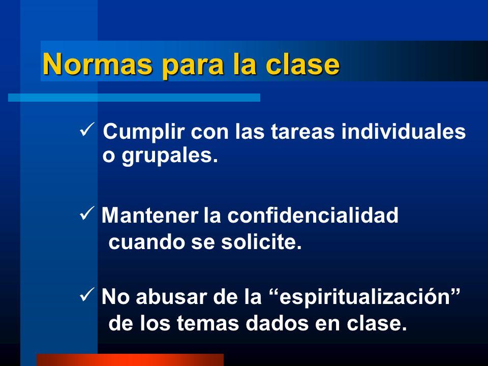 Normas para la clase Cumplir con las tareas individuales o grupales.