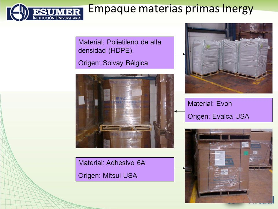 Empaque materias primas Inergy