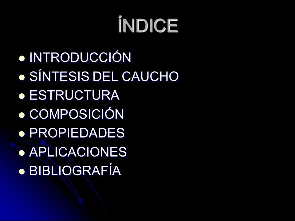 ÍNDICE INTRODUCCIÓN SÍNTESIS DEL CAUCHO ESTRUCTURA COMPOSICIÓN