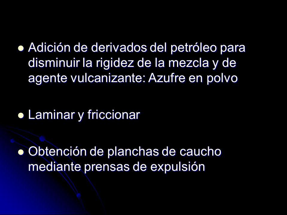 Adición de derivados del petróleo para disminuir la rigidez de la mezcla y de agente vulcanizante: Azufre en polvo