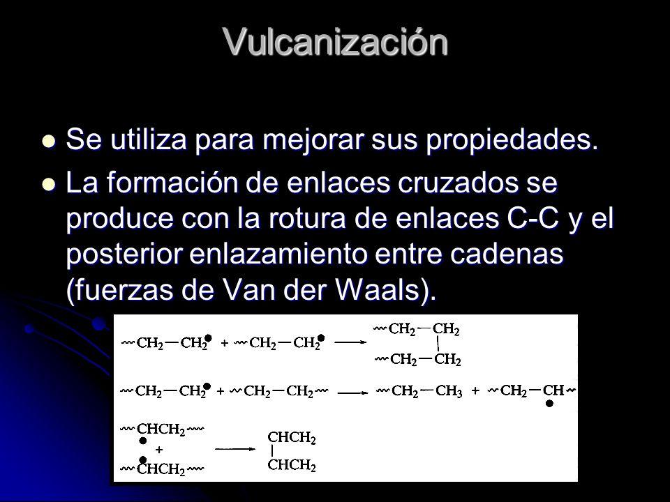 Vulcanización Se utiliza para mejorar sus propiedades.