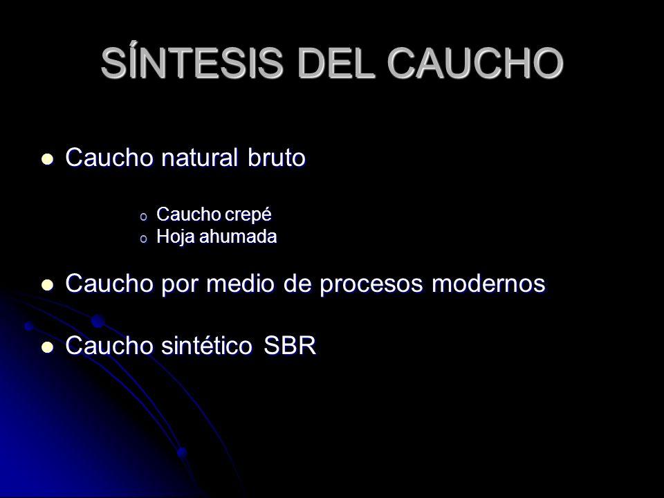 SÍNTESIS DEL CAUCHO Caucho natural bruto