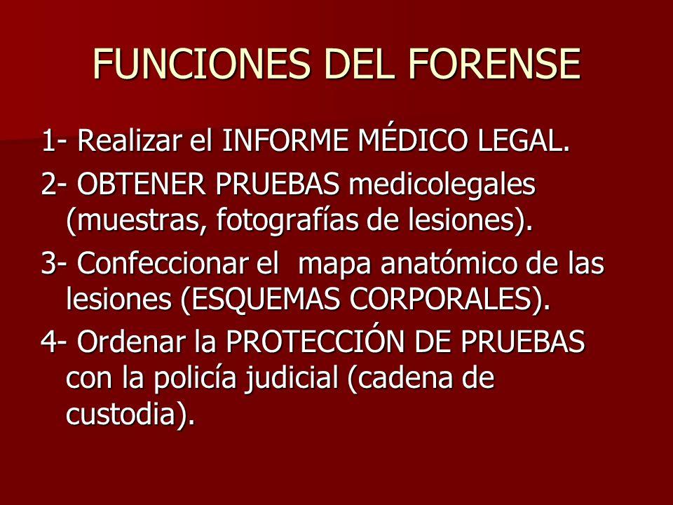 FUNCIONES DEL FORENSE 1- Realizar el INFORME MÉDICO LEGAL.