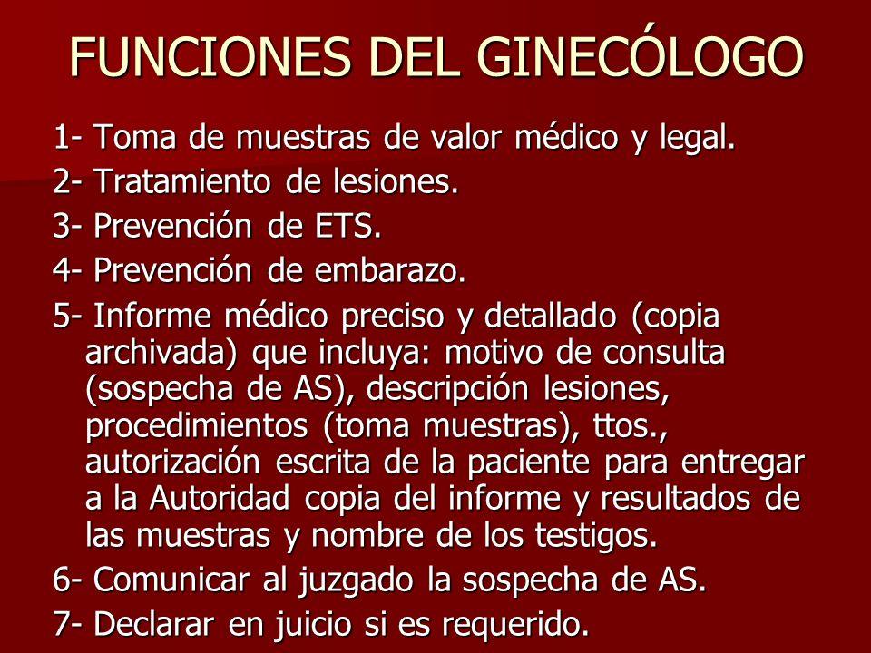 FUNCIONES DEL GINECÓLOGO