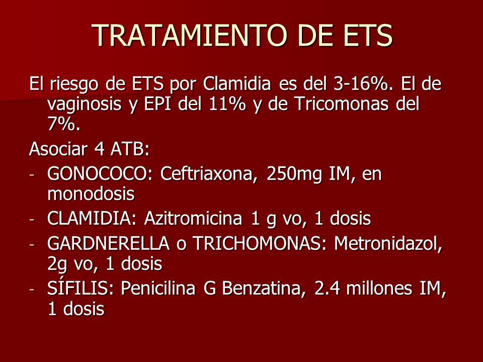 TRATAMIENTO DE ETS El riesgo de ETS por Clamidia es del 3-16%. El de vaginosis y EPI del 11% y de Tricomonas del 7%.