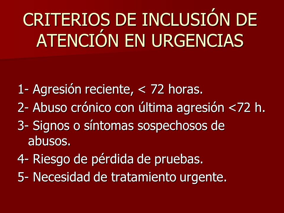 CRITERIOS DE INCLUSIÓN DE ATENCIÓN EN URGENCIAS