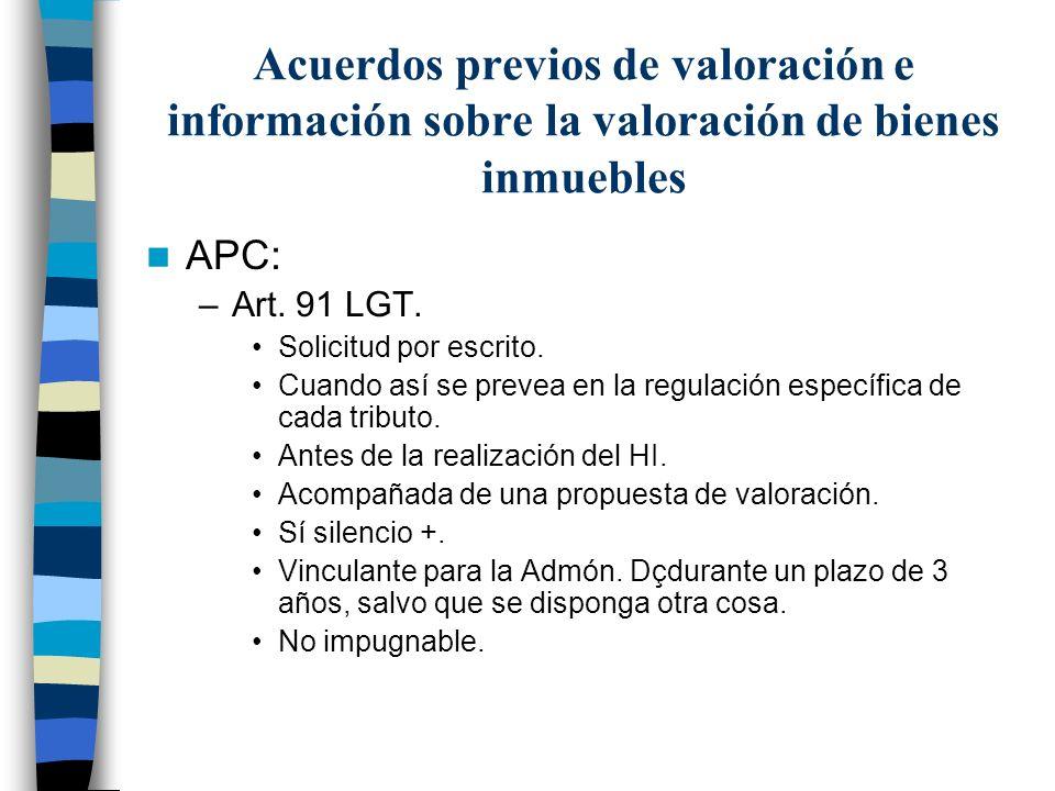 Acuerdos previos de valoración e información sobre la valoración de bienes inmuebles
