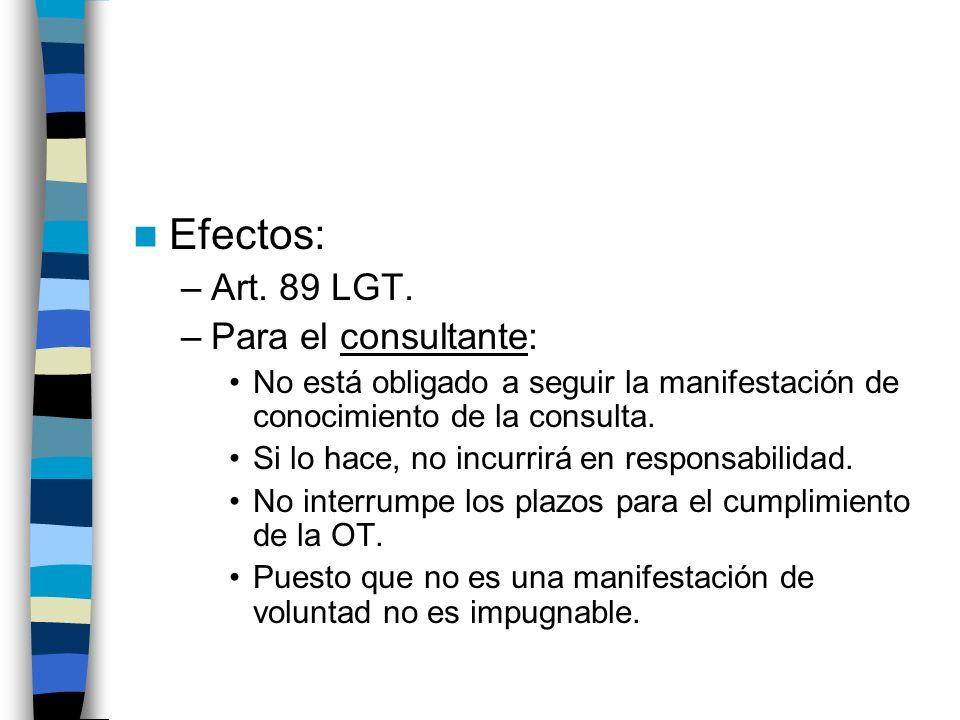 Efectos: Art. 89 LGT. Para el consultante: