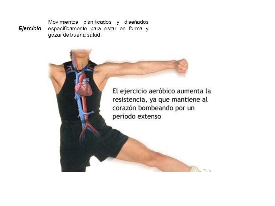 Ejercicio Movimientos planificados y diseñados específicamente para estar en forma y gozar de buena salud.