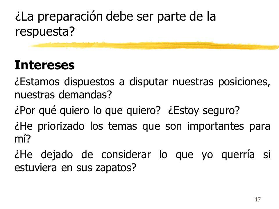 ¿La preparación debe ser parte de la respuesta