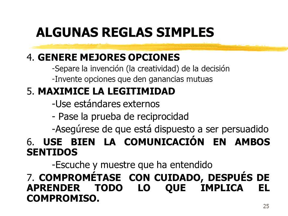 ALGUNAS REGLAS SIMPLES