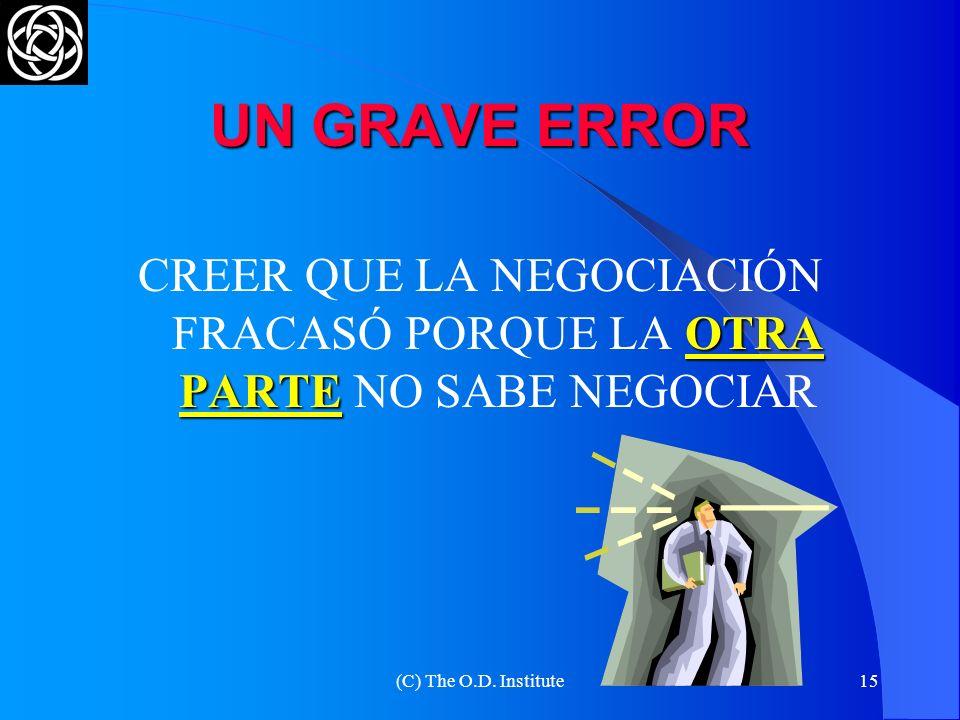 CREER QUE LA NEGOCIACIÓN FRACASÓ PORQUE LA OTRA PARTE NO SABE NEGOCIAR