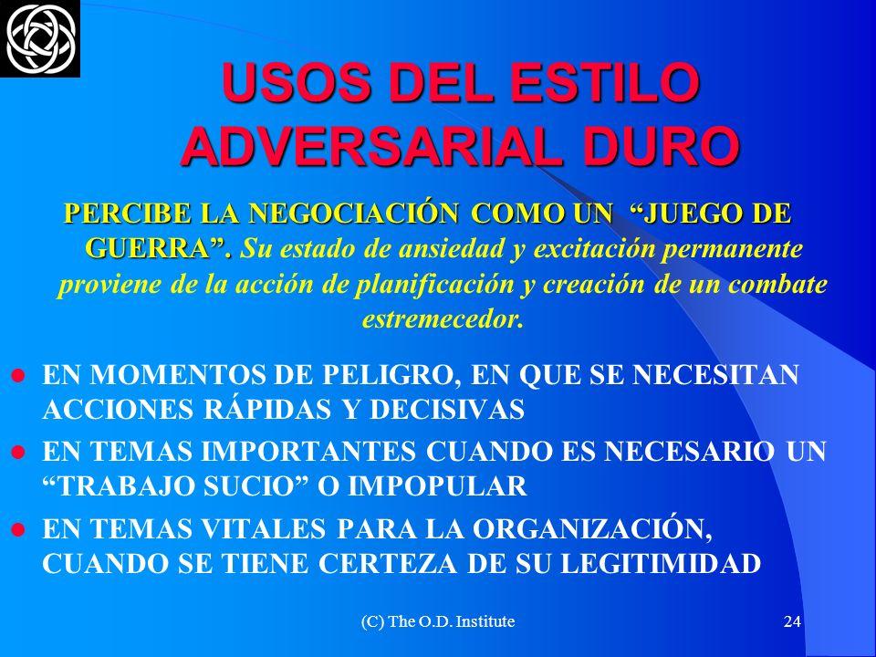 USOS DEL ESTILO ADVERSARIAL DURO