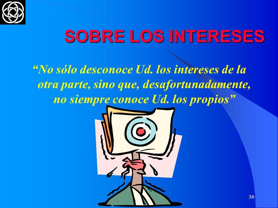 SOBRE LOS INTERESES No sólo desconoce Ud. los intereses de la otra parte, sino que, desafortunadamente, no siempre conoce Ud. los propios