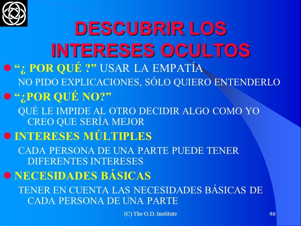 DESCUBRIR LOS INTERESES OCULTOS