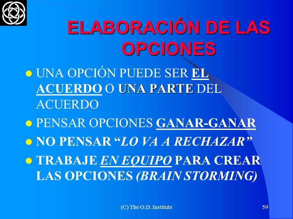 ELABORACIÓN DE LAS OPCIONES