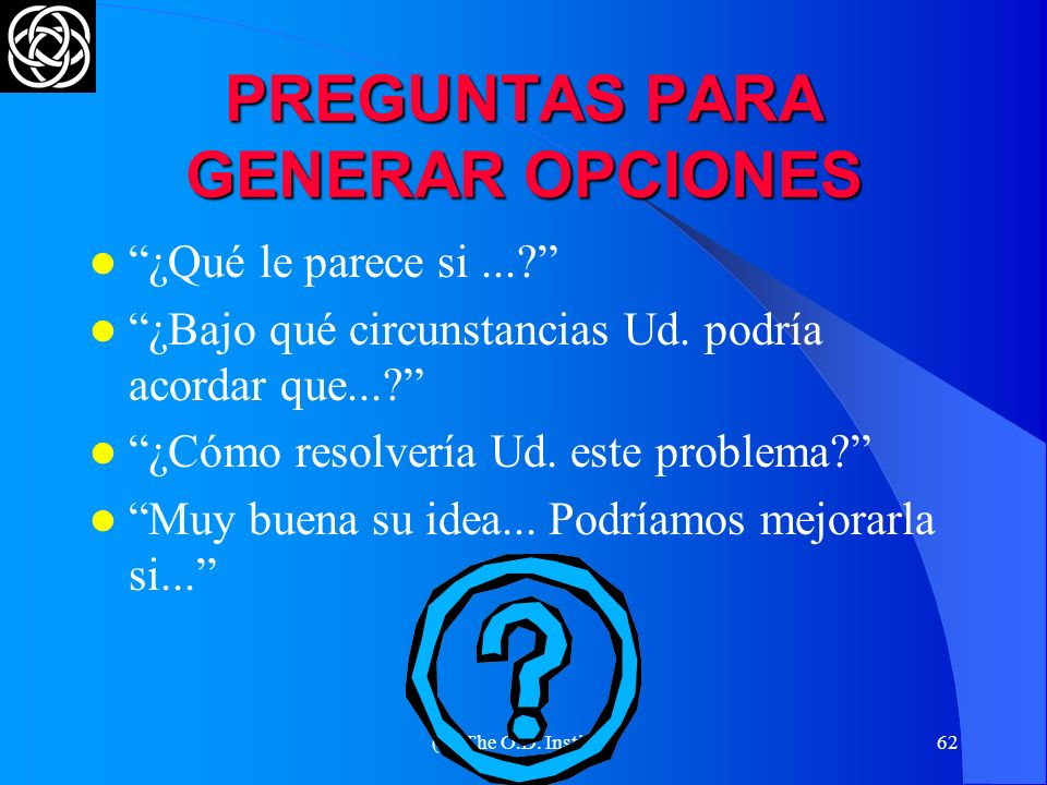 PREGUNTAS PARA GENERAR OPCIONES