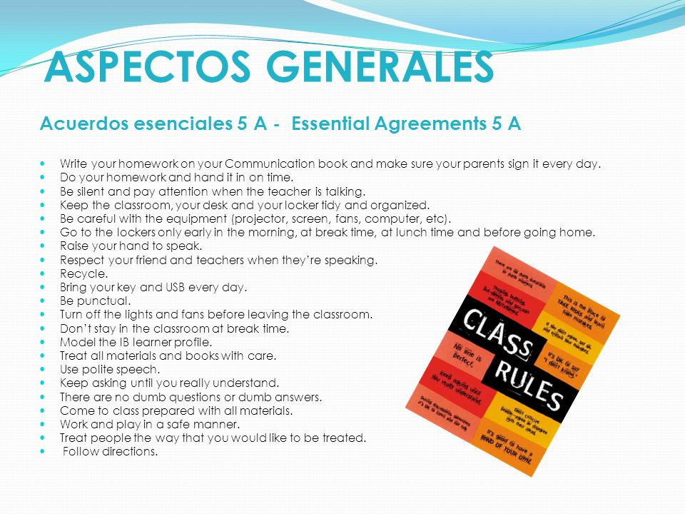 ASPECTOS GENERALES Acuerdos esenciales 5 A - Essential Agreements 5 A