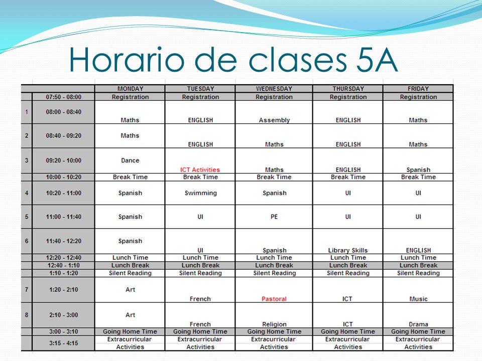 Horario de clases 5A