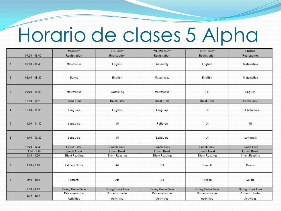 Horario de clases 5 Alpha