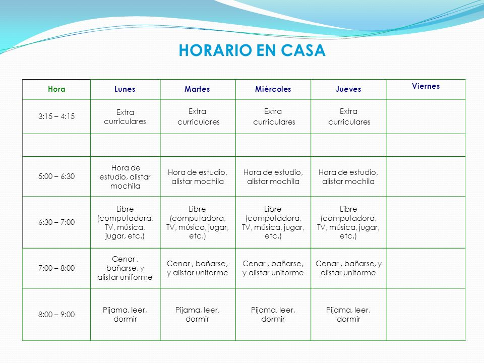HORARIO EN CASA Hora Lunes Martes Miércoles Jueves Viernes 3:15 – 4:15
