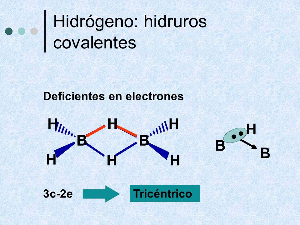 . Hidrógeno: hidruros covalentes B H B H B H Deficientes en electrones