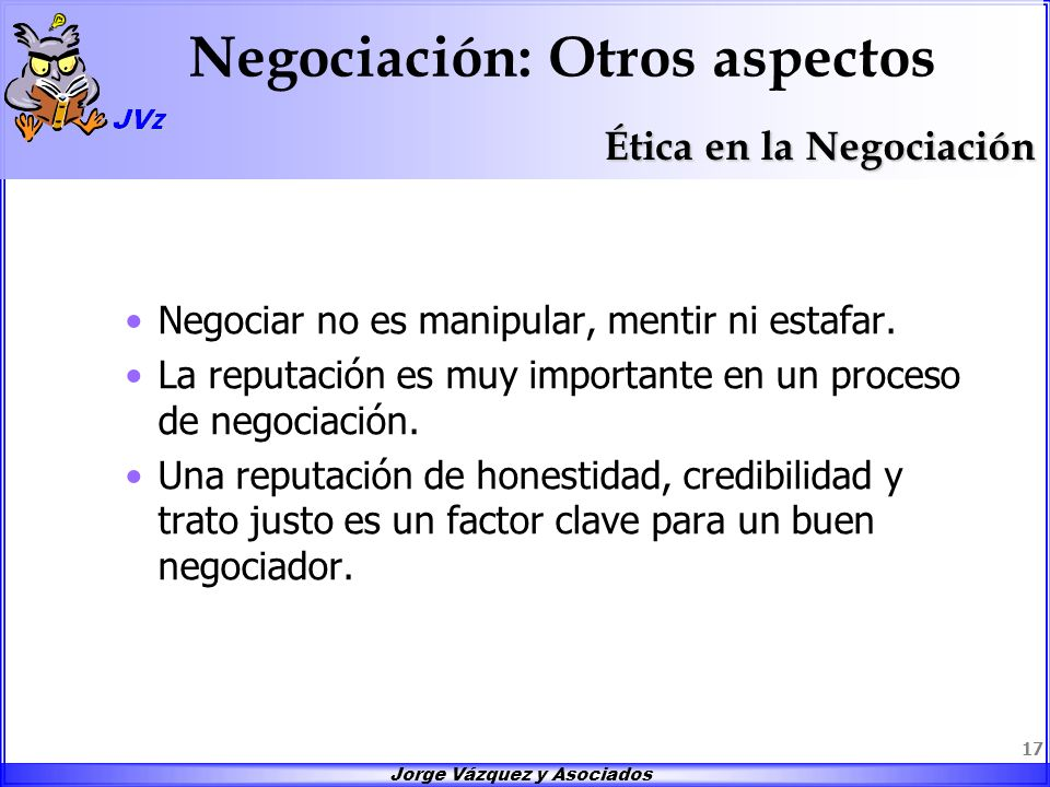Negociación: Otros aspectos