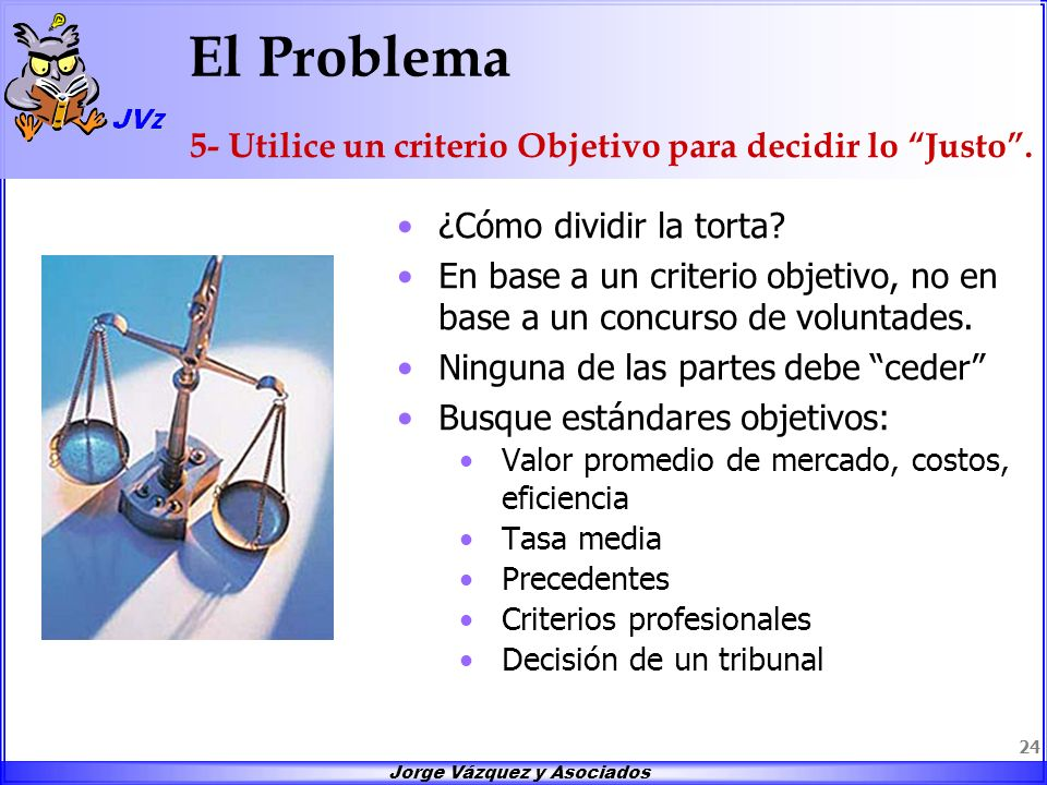 El Problema 5- Utilice un criterio Objetivo para decidir lo Justo .