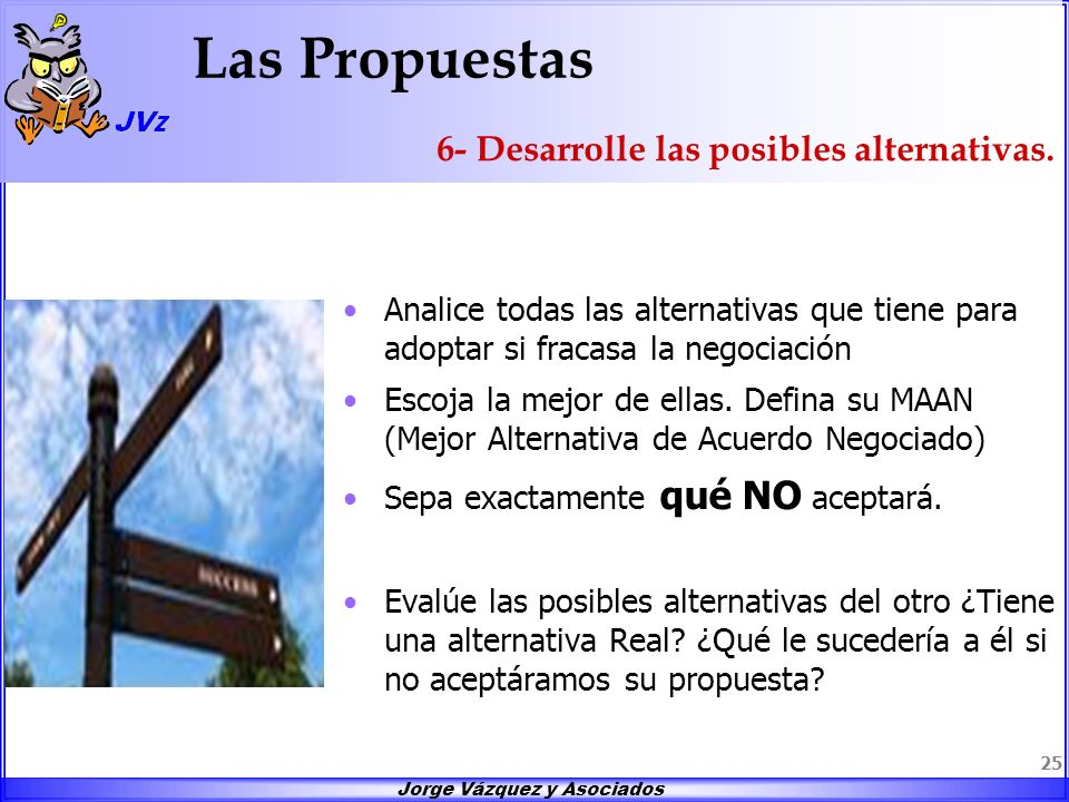 Las Propuestas 6- Desarrolle las posibles alternativas.