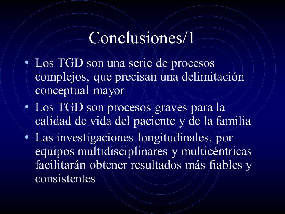 Conclusiones/1 Los TGD son una serie de procesos complejos, que precisan una delimitación conceptual mayor.